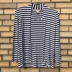 Banana Republic Stripe Navy White Cardigan Sweater